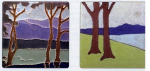 For High-end Collectors, These Landscapes May Be The Ticket: A Van Briggle Landscape (1908), Left, From the Collection of Norman Karlson, and a Rare Los Angeles Pressed Brick Company Tile By Fred Robertson (1913)